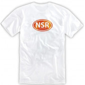 No Shoes Radio White Tee- Orange Logo
